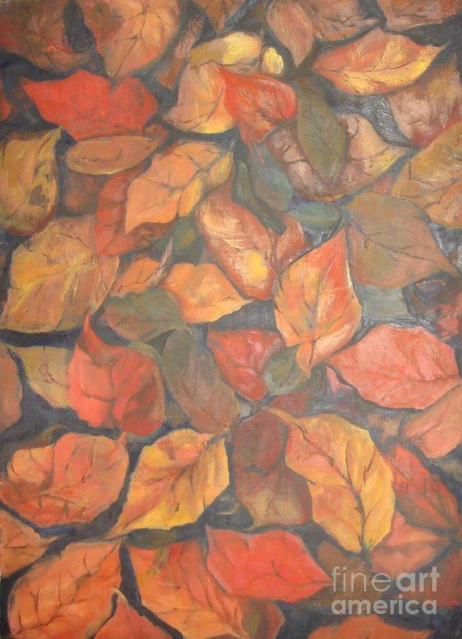 Flora And Foliage Painting - Autumn Leafs by Naila Saeyed