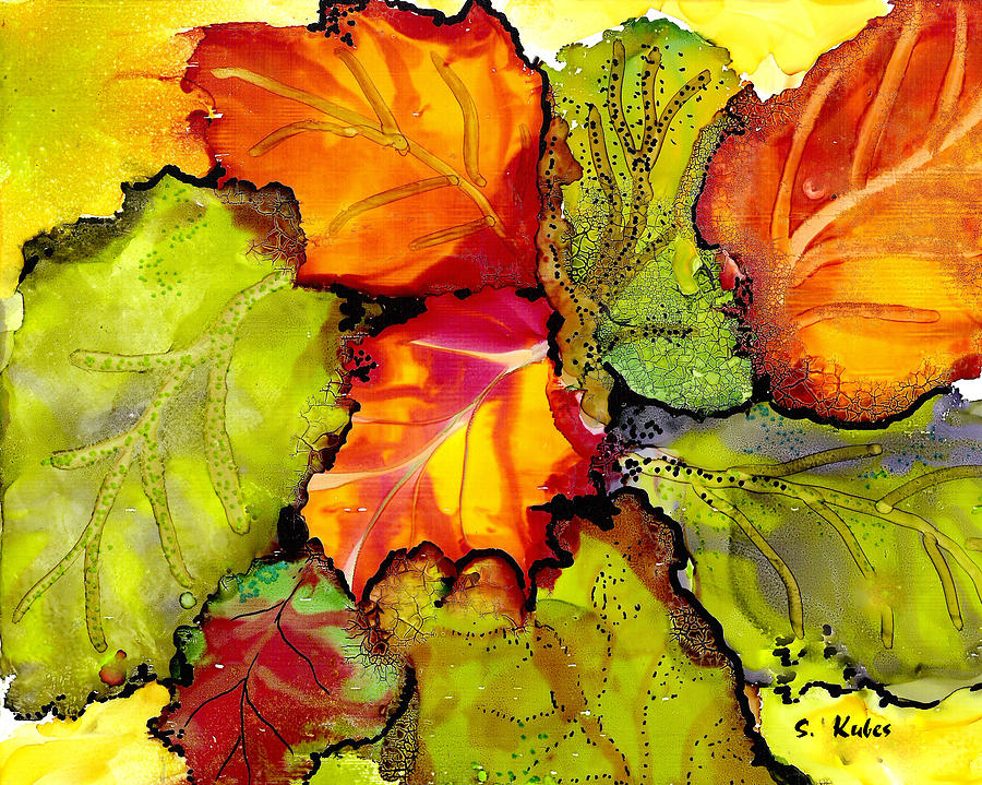 Leaves Painting - Autumn Leaves by Susan Kubes