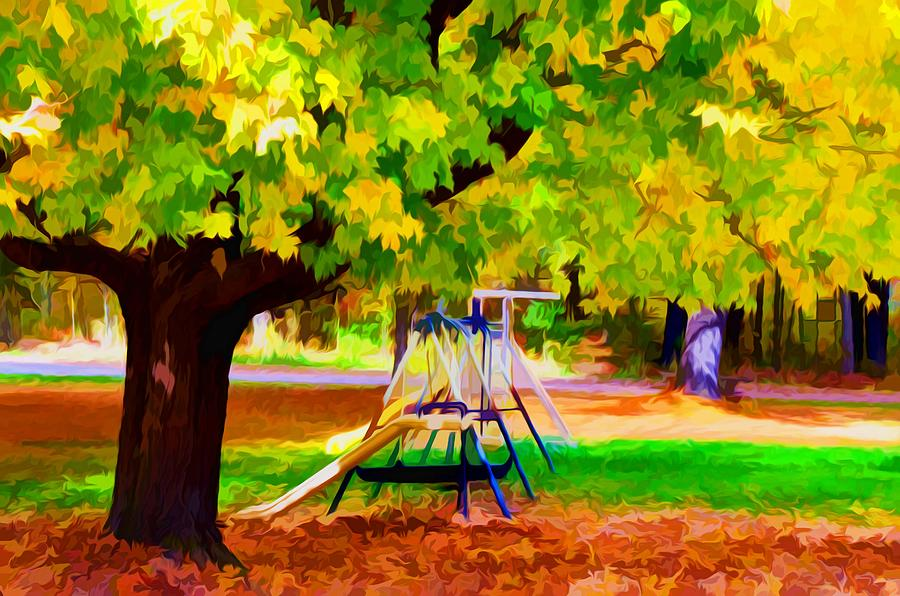 Fall Leaves Trees Painting - Autumn Playground 1 by Lanjee Chee