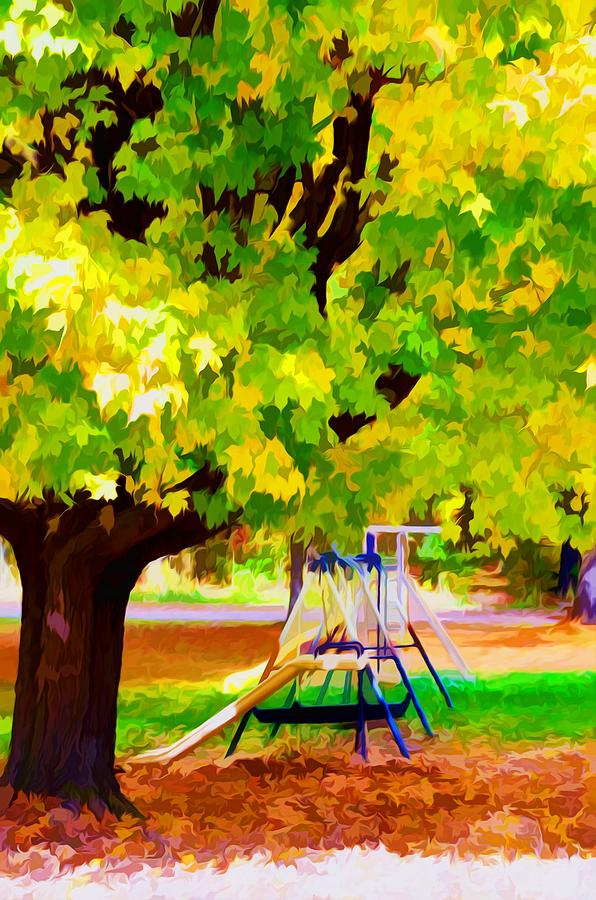 Fall Leaves Trees Painting - Autumn Playground by Lanjee Chee