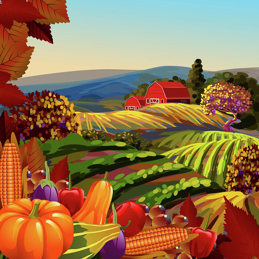 Autumn Scene Painting By Gajanan Bhat