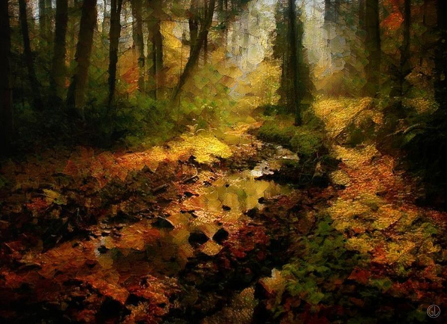 Landscape Digital Art - Autumn Sunrays by Gun Legler