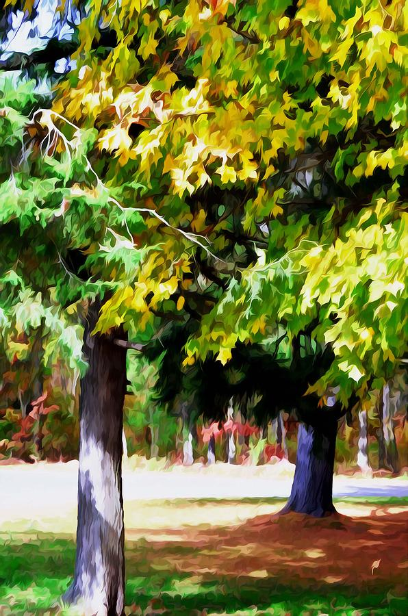 Fall Leaves Trees Painting - Autumn Trees 7 by Lanjee Chee