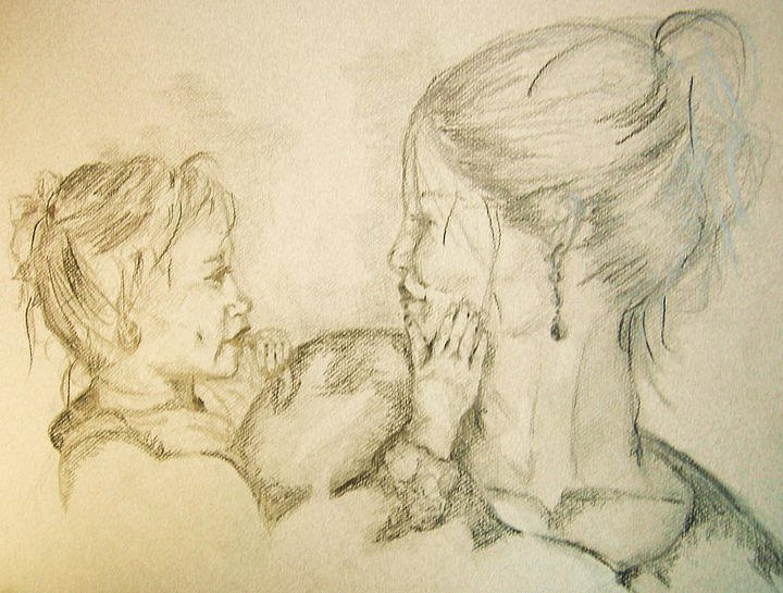 Portrait Drawing - Ava And Me by Deborah Gorga