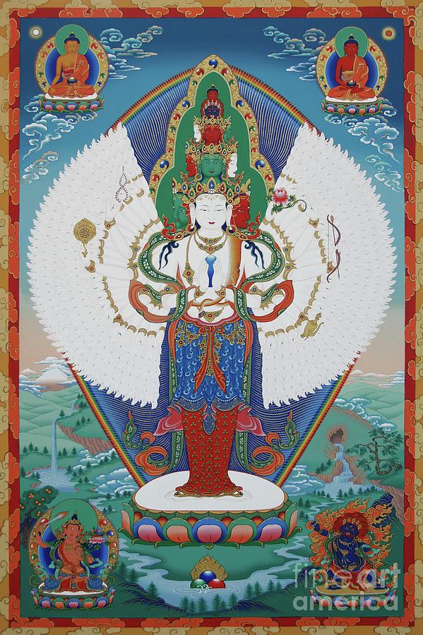 Chenrezig Painting - Avalokiteshvara Lord Of Compassion by Sergey Noskov
