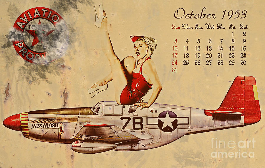 Pin Up Art Digital Art - Aviation 1953 by Cinema Photography