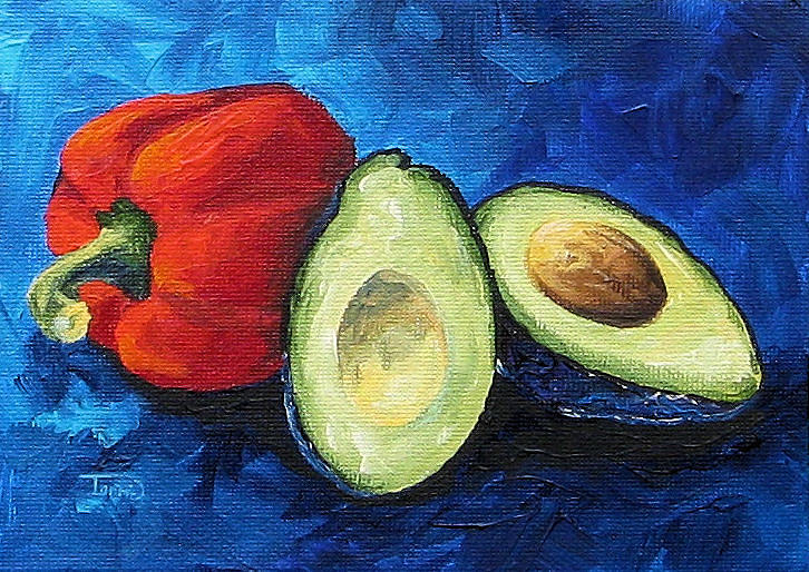 Bell Pepper Painting - Avocado And Pepper  by Torrie Smiley