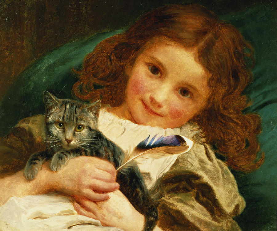 Child; Kitten; Feather; Portrait; Girl; Cat; Smile; Staring; Regard; Rousse; Redhead Painting - Awake by Sophie Anderson