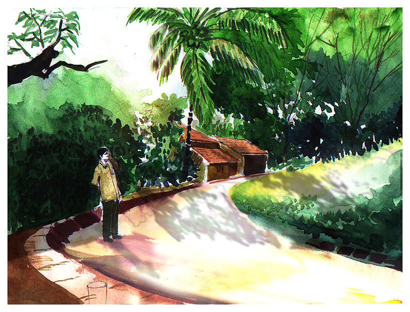 Water Color Watercolor Landscape Greenery  Painting - Awe by Anil Nene