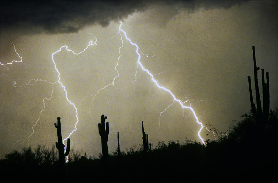 Lightning; Lightening; Chasers; Lightning Poster; Lightning Photography; Lightning Gallery; Picture Of Lightning; Lightning Storm Pictures; Lightning Photos Colorado; Pictures Of Storm Clouds And Lightning;  Lightning Art; Lightn Photograph - Az Desert Storm by James BO  Insogna