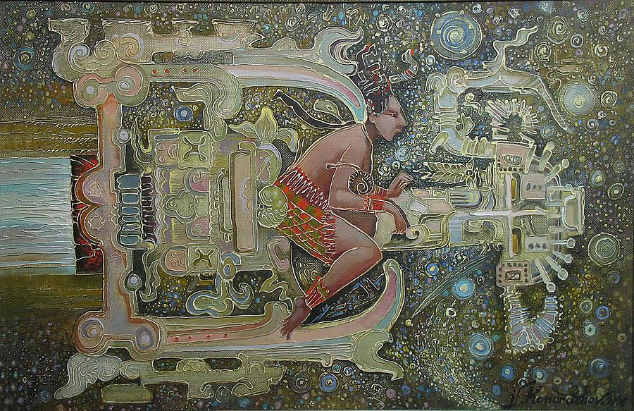 Aztec Astronaut Painting By Valentina Kondrashova
