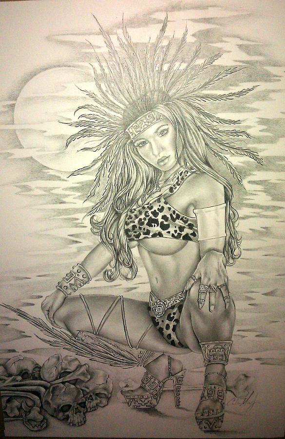 Aztec Drawing - Aztec Princess by Carlos Mendoza