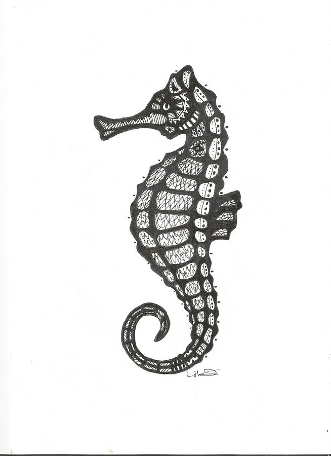 Aztec Seahorse Drawing By Loren Hill