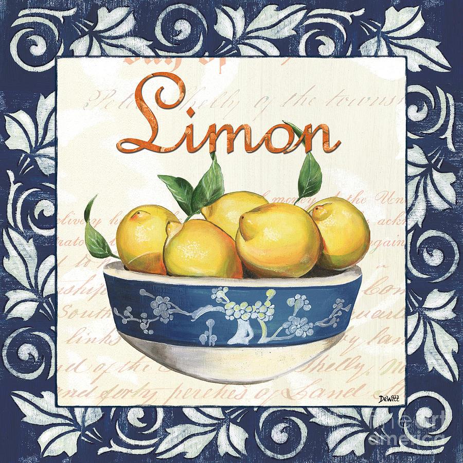 Lemon Painting - Azure Lemon 3 by Debbie DeWitt