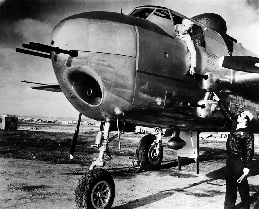 1940s Candid Photograph - B-25 Mitchell Bomber, Used by Everett