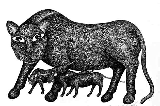 Gond Art Painting - Baag by Venkat Shyam