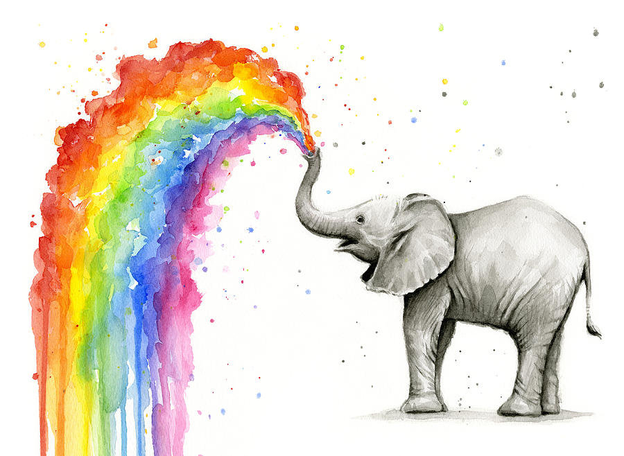 Baby Elephant Spraying Rainbow Painting By Olga Shvartsur