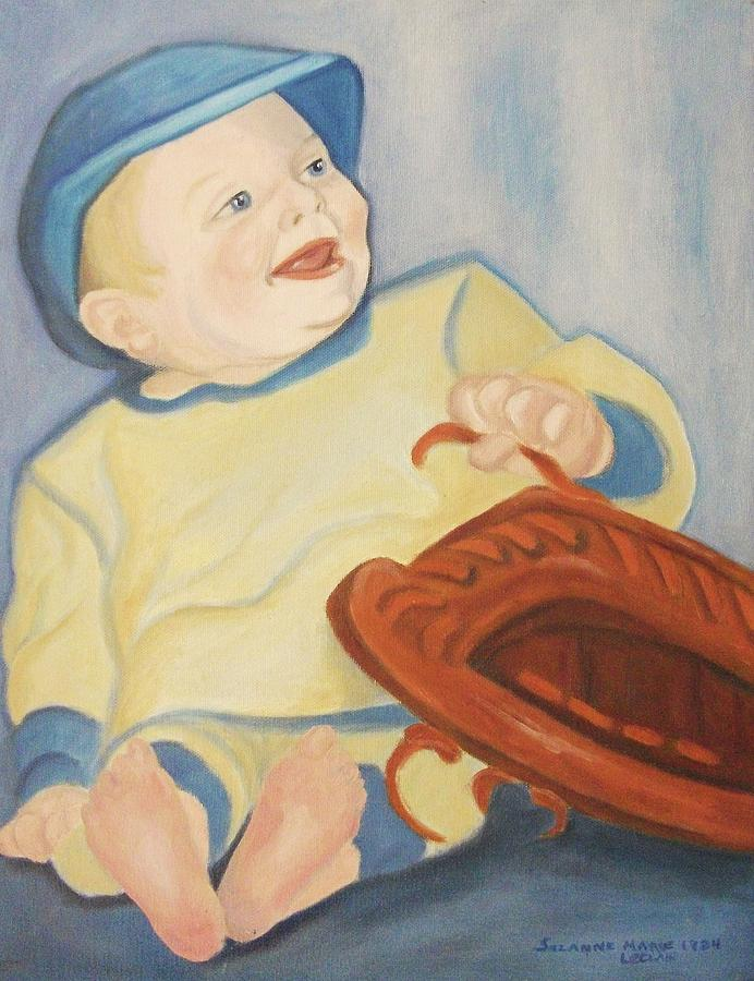 Baby Painting - Baby With Baseball Glove by Suzanne  Marie Leclair