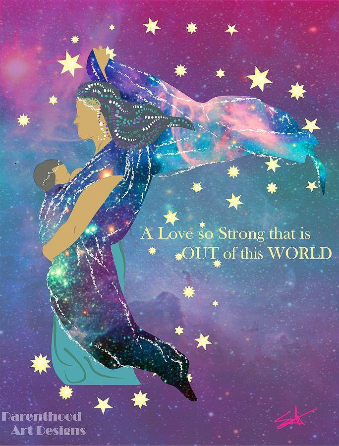 Babywearing out of this world drawing by parenthood art for Out of this world design