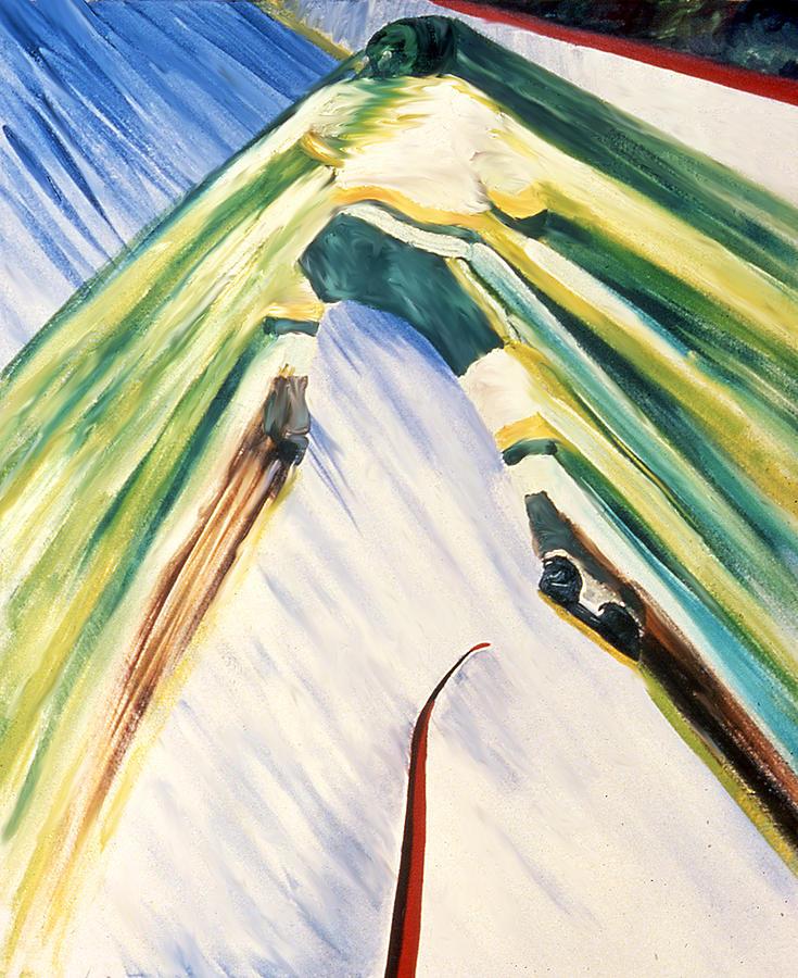 Hockey Painting - Back Checking by Ken Yackel