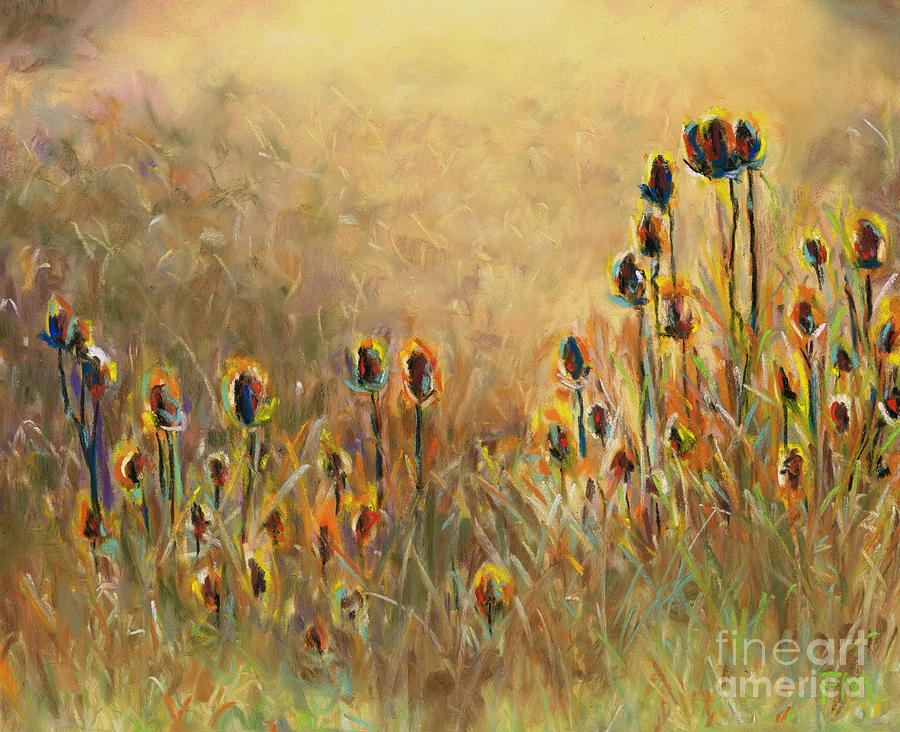 Thistle Painting - Backlit Thistle by Frances Marino