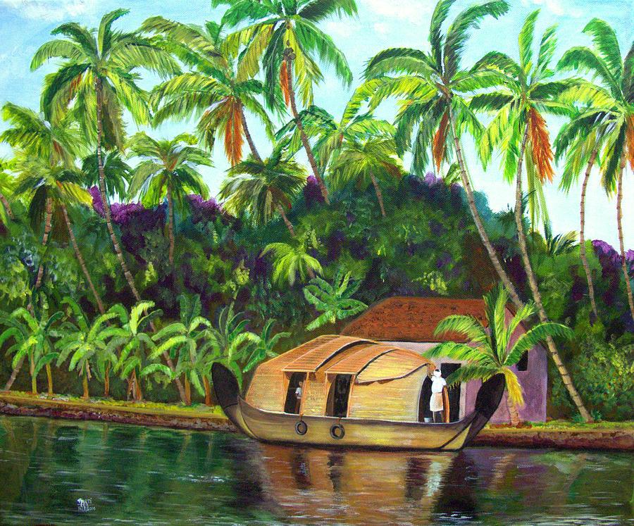 backwaters of kerala painting by aarti bartake