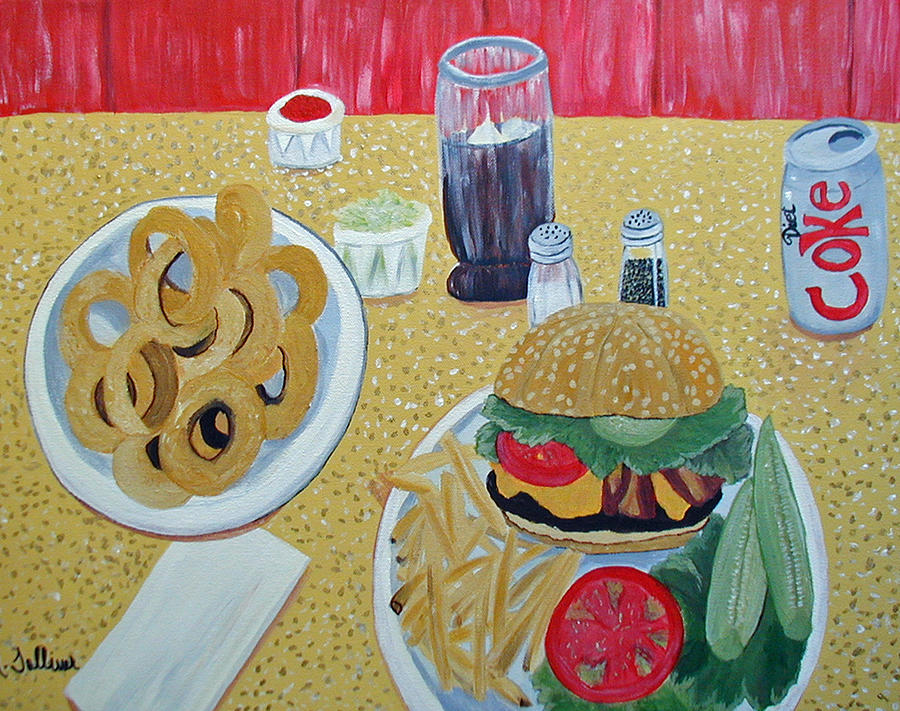 Food Painting - Bacon Cheeseburger Deluxe by Norma Tolliver