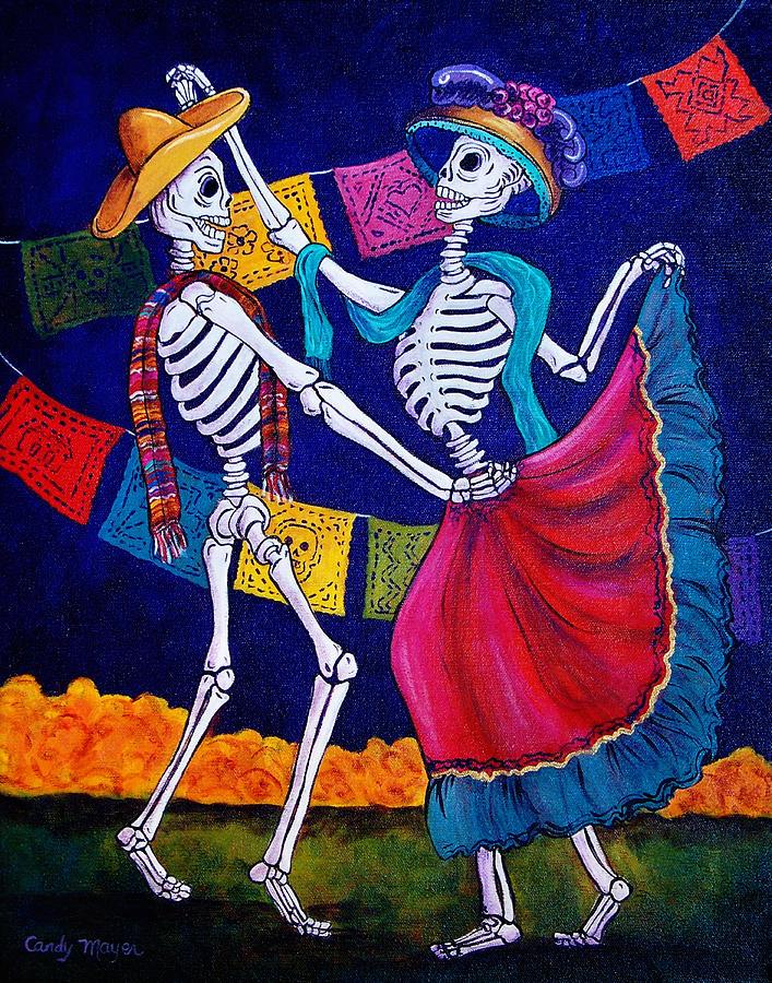 Dia De Los Muertos Painting - Bailando by Candy Mayer