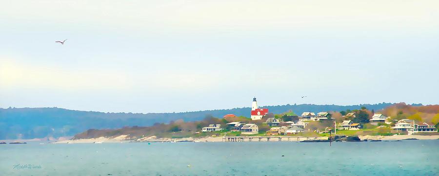 Lighthouse Digital Art - Bakers Island Lighthouse by Michelle Wiarda
