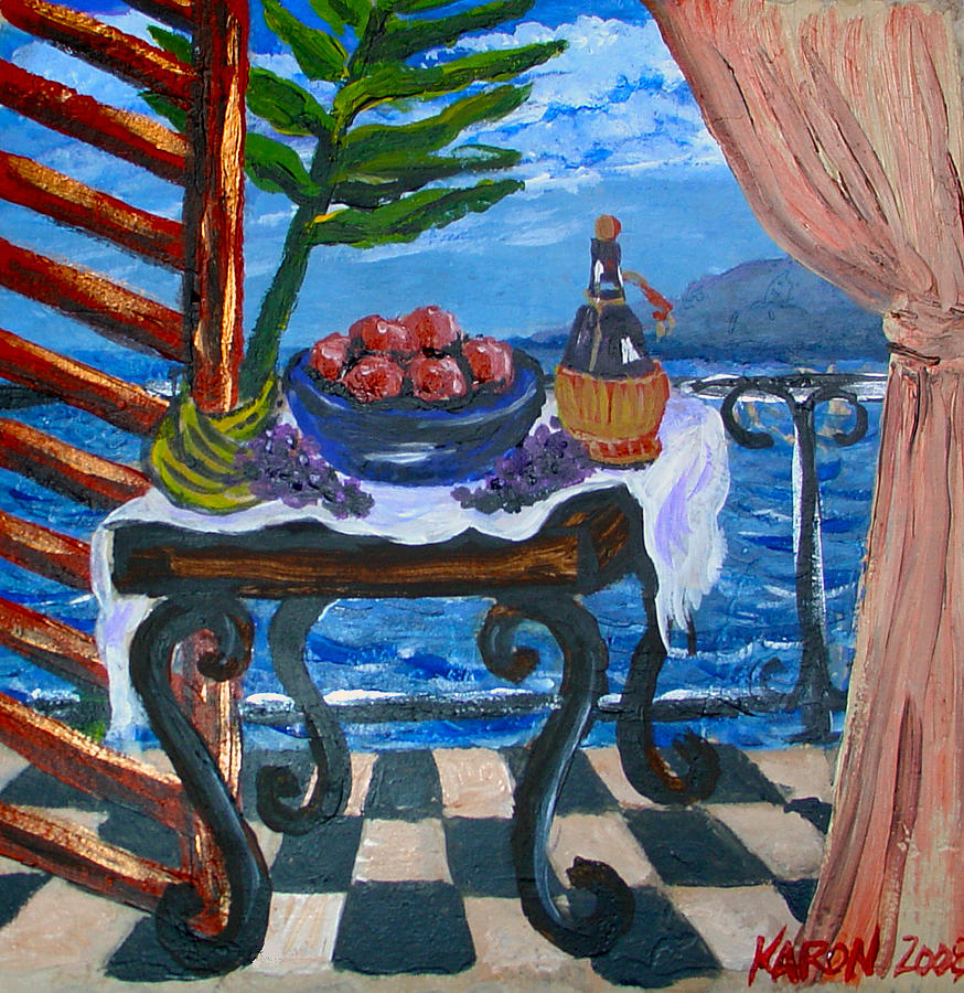 Tile Painting - Balcony By The Mediterranean Sea by Karon Melillo DeVega