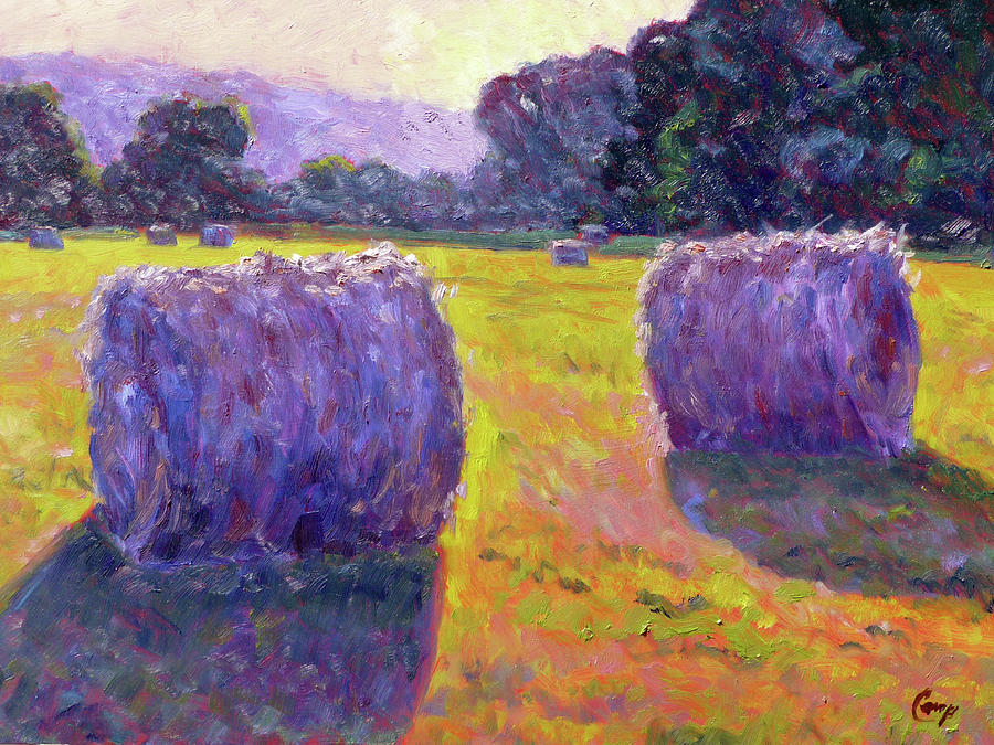 Impressionist Painting - Bales Of Hay by Michael Camp