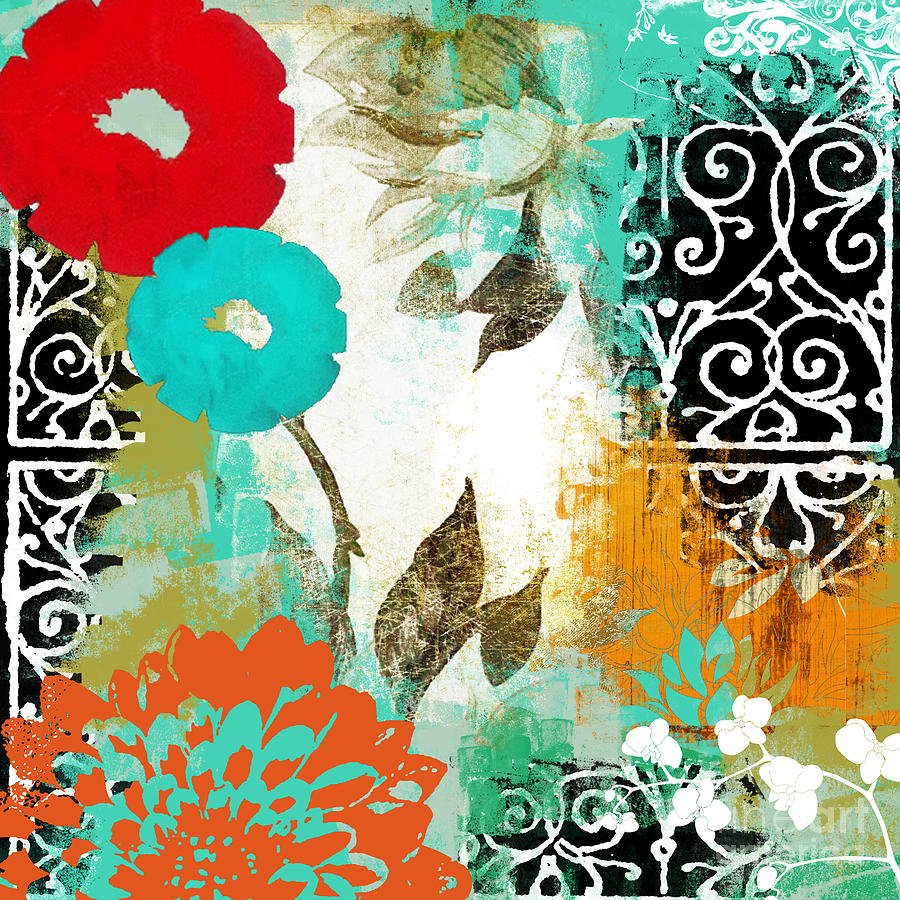 Bali i abstract collage painting painting by mindy sommers for A mural is painted on a