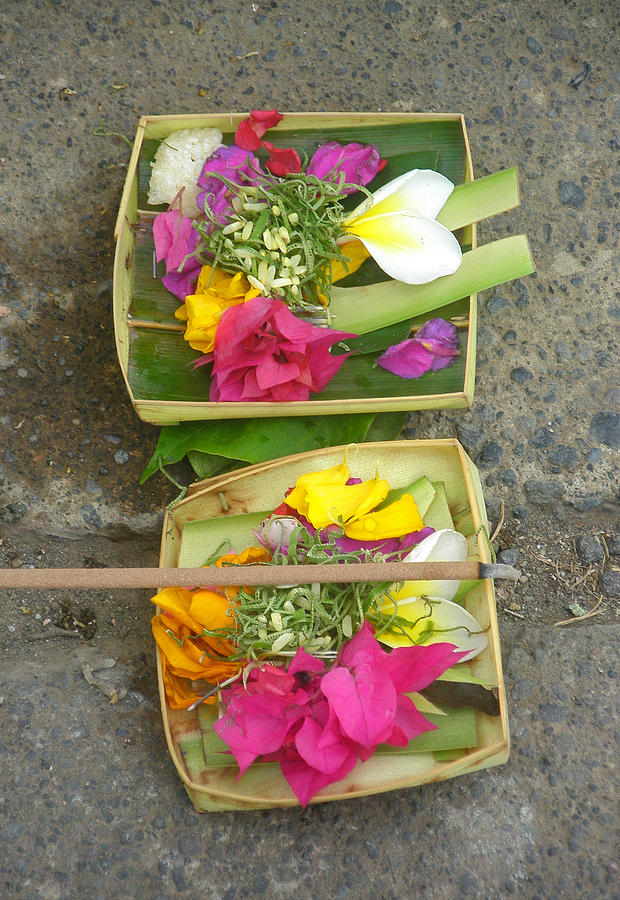 Bali Balinese Religion Budhism Ritual Offering Culture Asia Asian Tradition Photograph - Balinese Offering Baskets by Mark Sellers