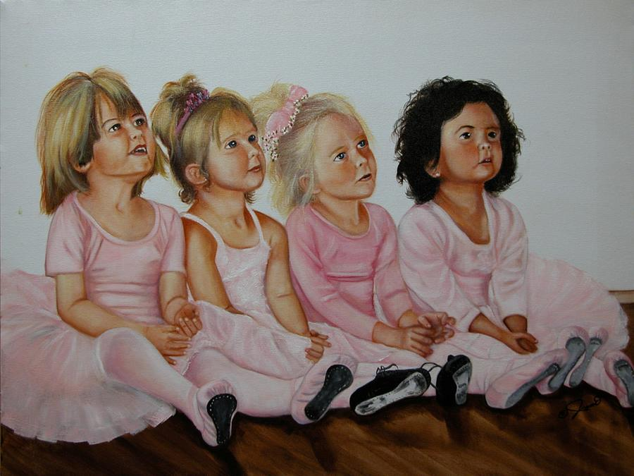 Child Painting - Ballerina Girls by Joni McPherson