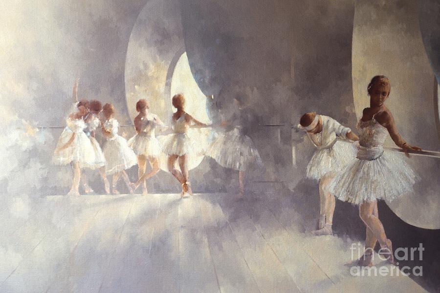 Ballerina; Ballet; Girls; Girl; Female; Dance; Dancing; Dancers; Interior; Tutu; Leotard; Ballet Studio Painting - Ballet Studio  by Peter Miller