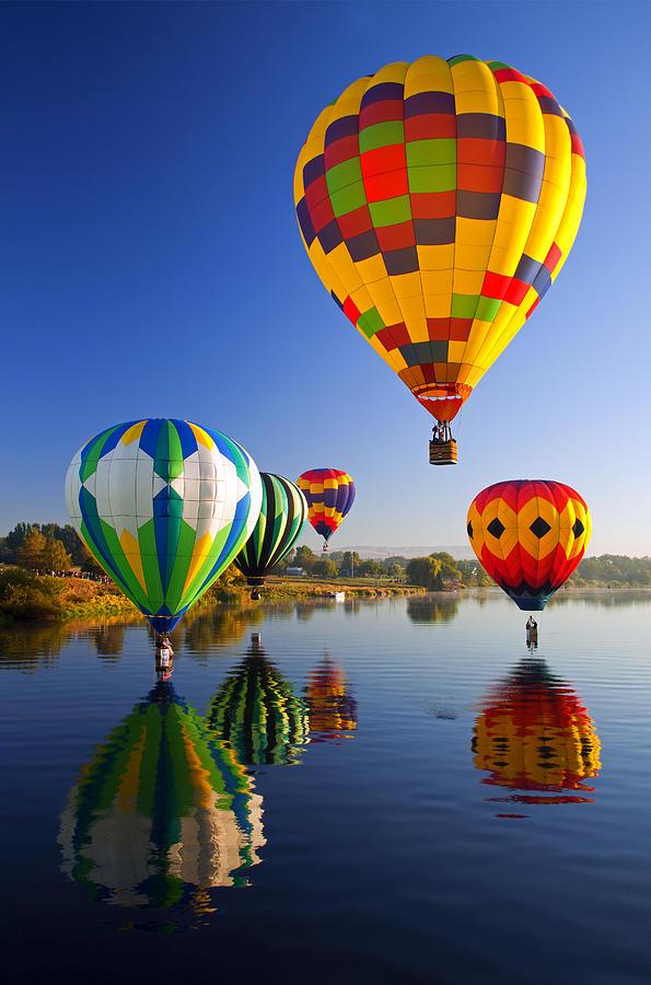 Balloon Photograph - Balloon Reflections by Mike  Dawson