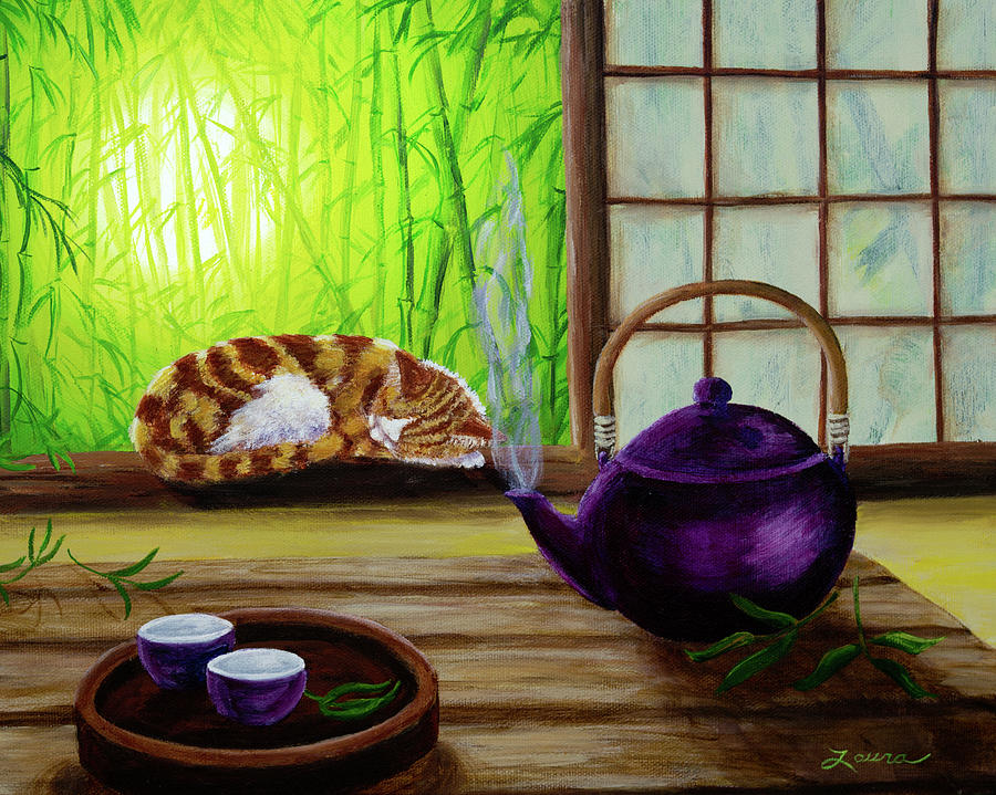 Teapot Painting - Bamboo Morning Tea by Laura Iverson