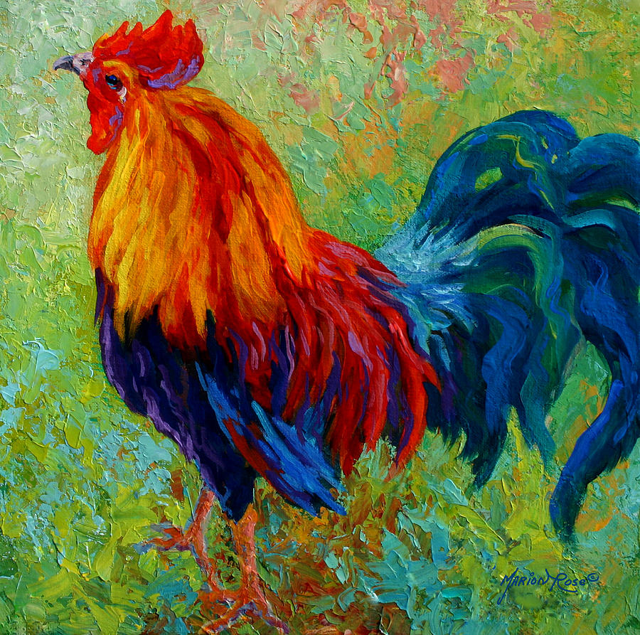 Rooster Painting - Band Of Gold - Rooster by Marion Rose