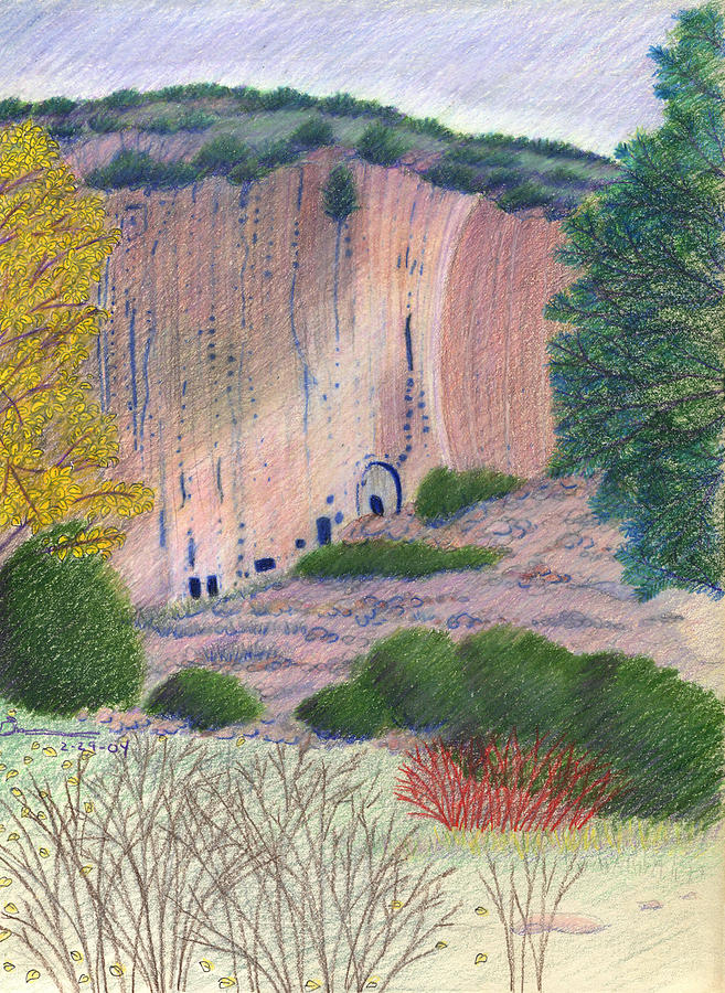 Bandelier National Monument Drawing - Bandelier 2004 by Harriet Emerson