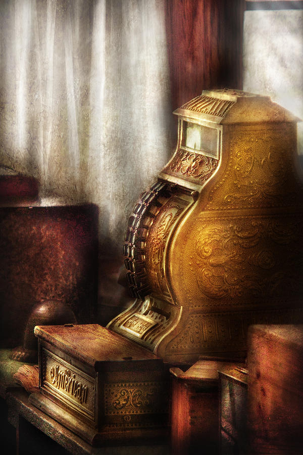 Savad Photograph - Banker - Brass Cash Register  by Mike Savad
