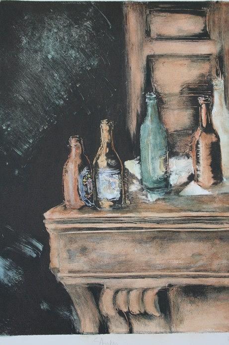 Bottles Painting - Bar Scene by Pati Hays