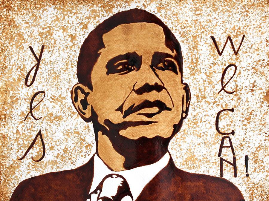 Barack Obama Original Coffee Art Painting - Barack Obama Words Of Wisdom Coffee Painting by Georgeta  Blanaru