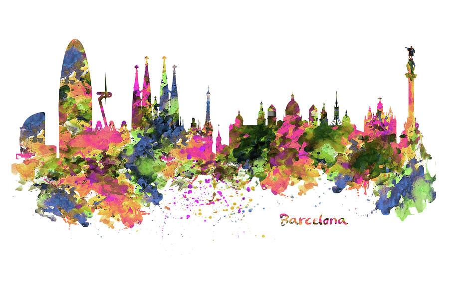 Barcelona Watercolor Skyline Digital Art By Marian Voicu