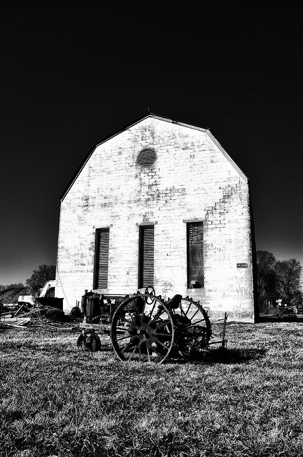 Barn And Tractor In Black And White Photograph