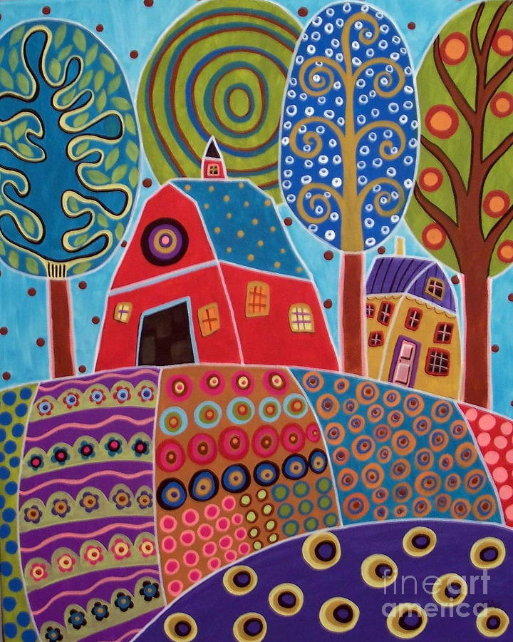 Barn Garden Landscape Painting