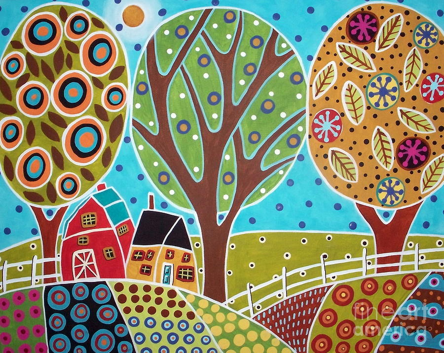 Barn Trees And Garden Painting