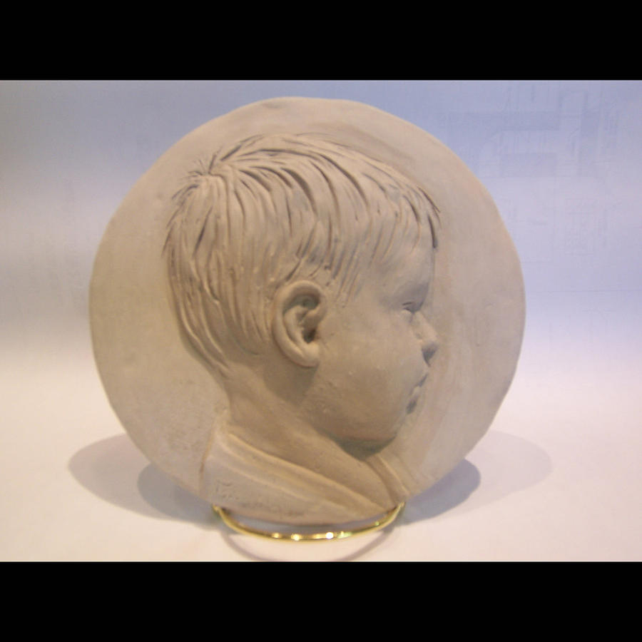 Bas Relief Of A Boy Relief - Bas Relief Of Malek by Terri  Meyer