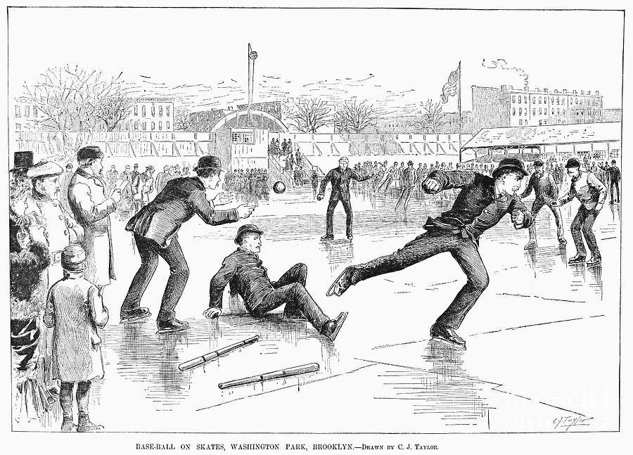1884 Photograph - Baseball On Ice, 1884 by Granger