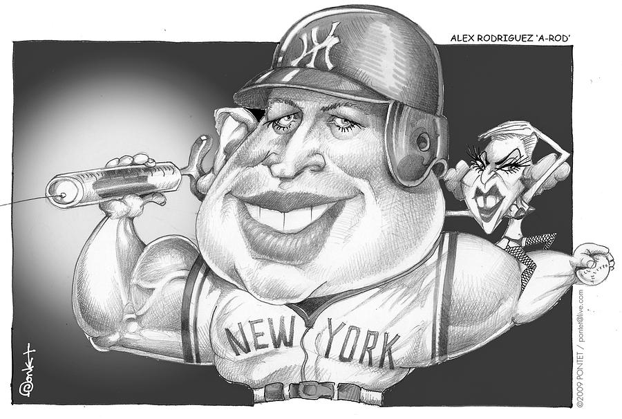 Baseball Drawing - Baseball Player A Rod  by Caricatures By PONTET