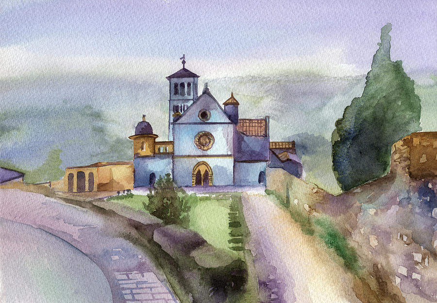 Watercolour Painting - Basilica Of St Francis  Assisi by Lydia Irving